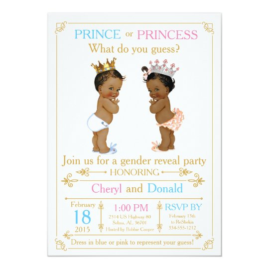 African American Gender Reveal Invitations Announcements Zazzle