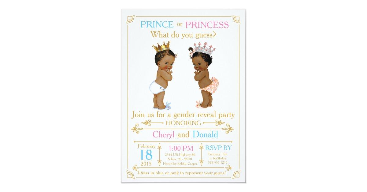 Gold Prince or Princess Gender Reveal Baby Shower Card   Zazzle.com
