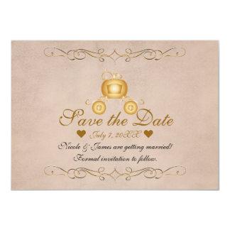 Gold Princess Cinderella Carriage Save the Date Card