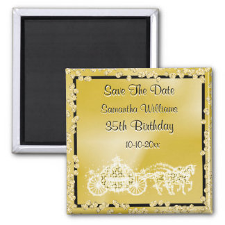 Gold Princess Coach & Horses Save The Date 35th Magnet