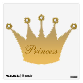 Gold Princess Crown & Jewels Wall Decal