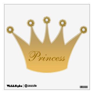 Gold Princess Crown & Jewels Wall Decal
