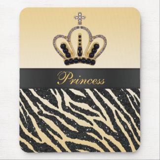 Gold Princess Crown Zebra Glitter Print Mousepad