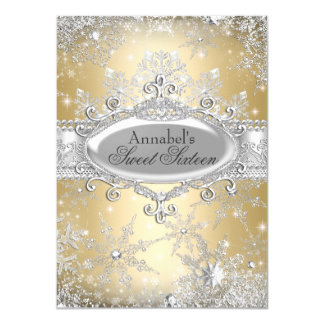 Gold Princess Winter Wonderland Sweet 16 Invite