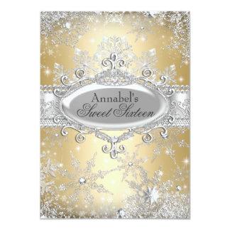 Gold Princess Winter Wonderland Sweet 16 Invite