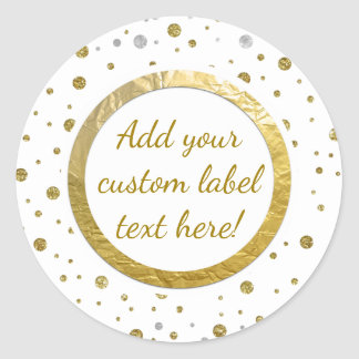 Gold Printed Confetti Custom Craft Label