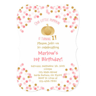 Gold Pumpkin First Birthday Bracket Invitation