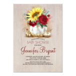 Gold Pumpkin Floral Vase Rustic Fall Baby Shower Invitation