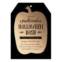Gold Pumpkin Halloween Invite