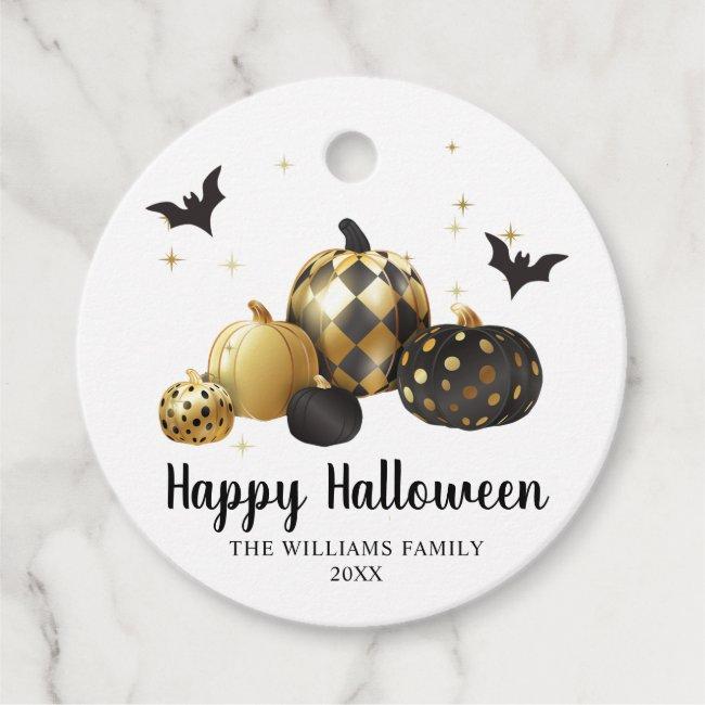 Gold Pumpkin Happy Halloween Favor Tags