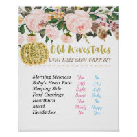 Gold Pumpkin Old Wives Tales Gender Reveal Board Poster