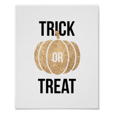 Halloween Themed Gold Pumpkin Trick or Treat Halloween Poster