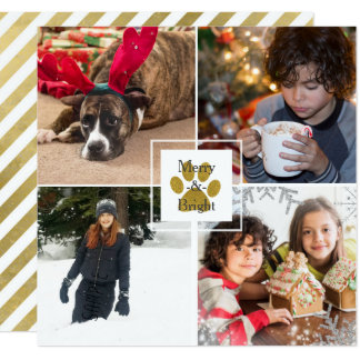 Gold Puppy Paw Christmas Holiday 4 Photo Custom Card