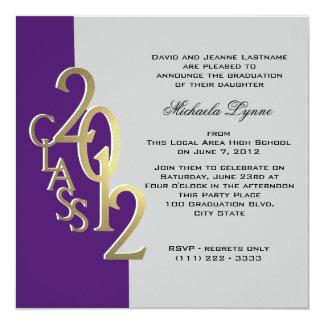 Gold Purple 2012 Photo Graduation Invitation