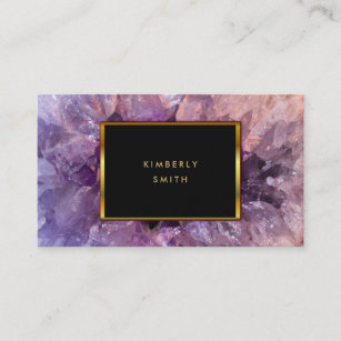 Purple business cards templates zazzle gold purple amethyst gemstone geode business card colourmoves