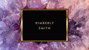 Purple and gold business cards templates zazzle gold purple amethyst gemstone geode business card colourmoves