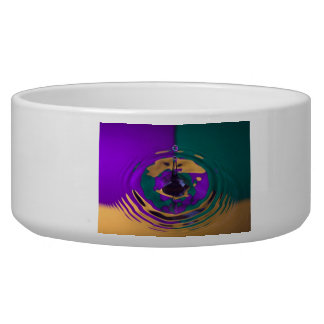 Gold Purple and Green Water Drop Dog Water Bowl