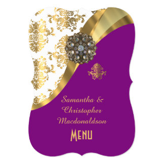 Gold, purple and white damask wedding menu card
