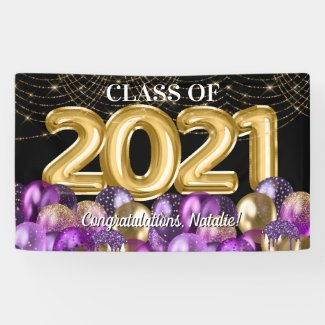 Gold Purple Balloons Graduation Class of 2021 Banner