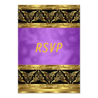 Gold Purple Birthday celebration  Invitation RSVP