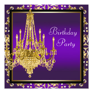 Gold Purple Chandelier Birthday Party Card