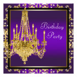 Gold Purple Chandelier Birthday Party Custom Invitation