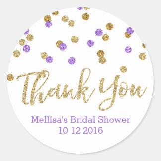 Gold Purple Confetti Bridal Shower Favor Tags