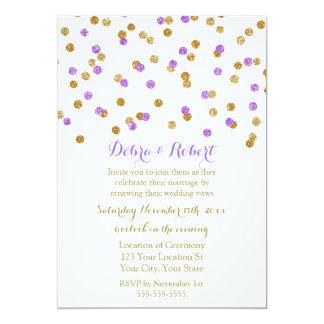 Gold Purple Confetti Vow Renewal Invitation