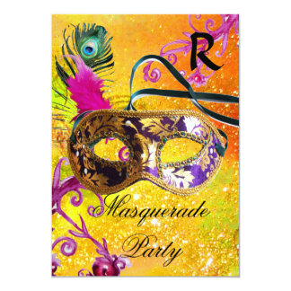 GOLD PURPLE DAMASK FEATHER MASK Masquerade Party Card