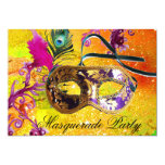 GOLD PURPLE DAMASK FEATHER MASK Masquerade Party Invites