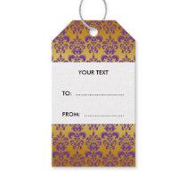 Gold, Purple Damask Pattern 2 Gift Tags