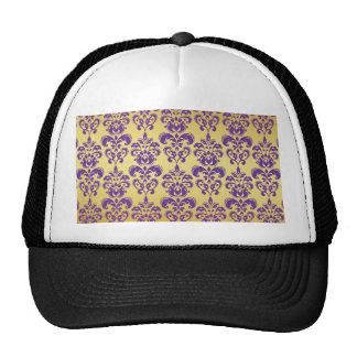 Gold, Purple Damask Pattern 2 Mesh Hat