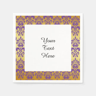 Gold Purple Damask Pattern 2 Disposable Napkins