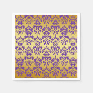 Gold Purple Damask Pattern 2 Paper Napkins