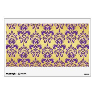 Gold, Purple Damask Pattern 2 Wall Sticker