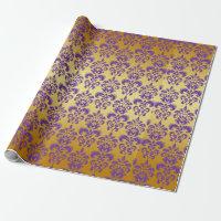 Gold, Purple Damask Pattern 2 Wrapping Paper