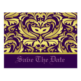 Gold & Purple Damask Scroll Save The Date Postcard