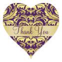 Gold & Purple Damask Thank You Heart Sticker sticker