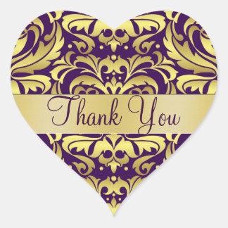 Gold & Purple Damask Thank You Heart Sticker