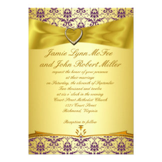 Gold & Purple Damask Wedding Invitation