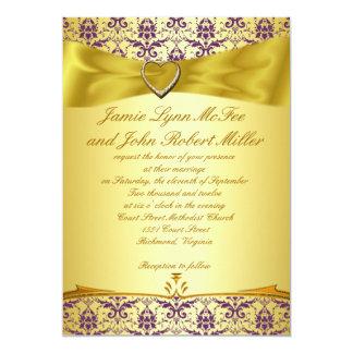 Gold & Purple Damask Wedding Invitation