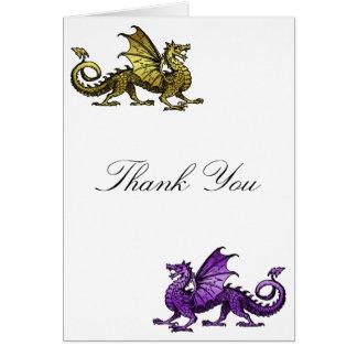 Gold Purple Dragon Thank You Card