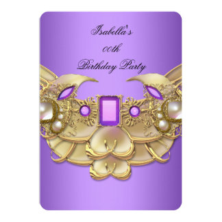 Gold Purple Elegant Birthday Party Girls Woman's 2 Card