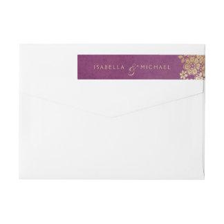 Gold purple elegant lace wedding return address wrap around label