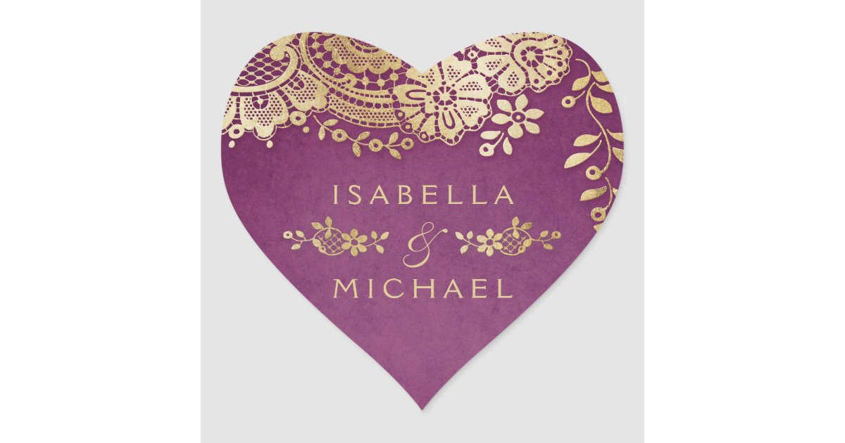 gold purple elegant vintage lace wedding favor heart sticker zazzle com zazzle