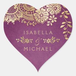 Gold purple elegant vintage lace wedding favor heart sticker