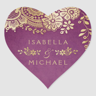 Gold purple elegant vintage lace wedding favor heart sticker
