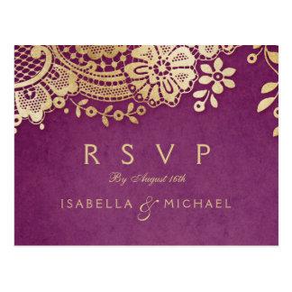 Gold purple elegant vintage lace wedding RSVP Postcard