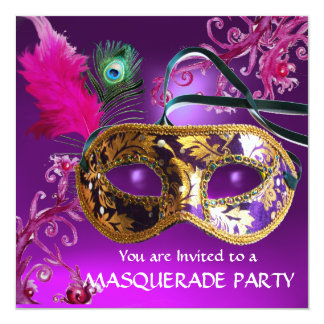 GOLD PURPLE FEATHER DAMASK  MASK Masquerade Party Card