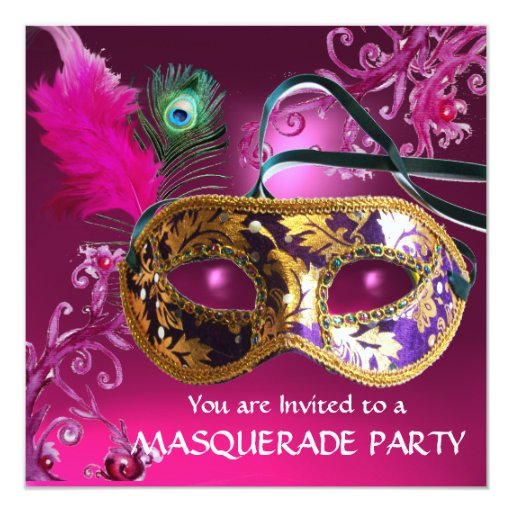 GOLD PURPLE FEATHER DAMASK  MASK Masquerade Party 5.25x5.25 Square Paper Invitation Card